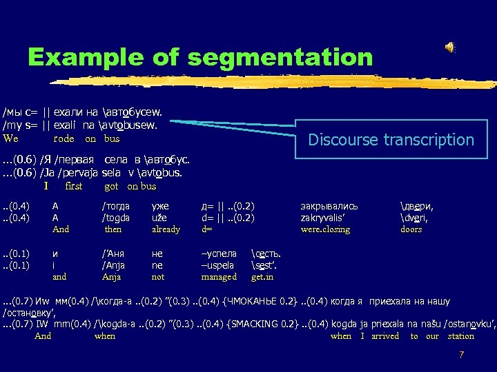 Example of segmentation Z 54 /мы с= || ехали на автобусеw. /my s= ||
