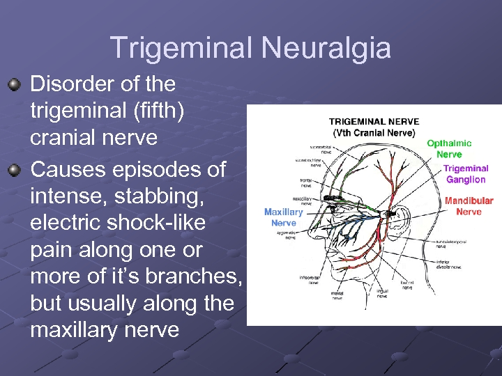 Trigeminal Neuralgia Disorder of the trigeminal (fifth) cranial nerve Causes episodes of intense, stabbing,