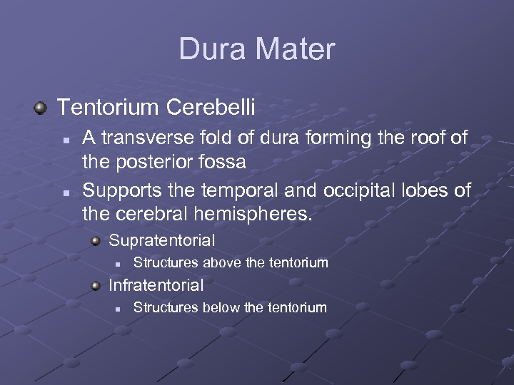 Dura Mater Tentorium Cerebelli n n A transverse fold of dura forming the roof