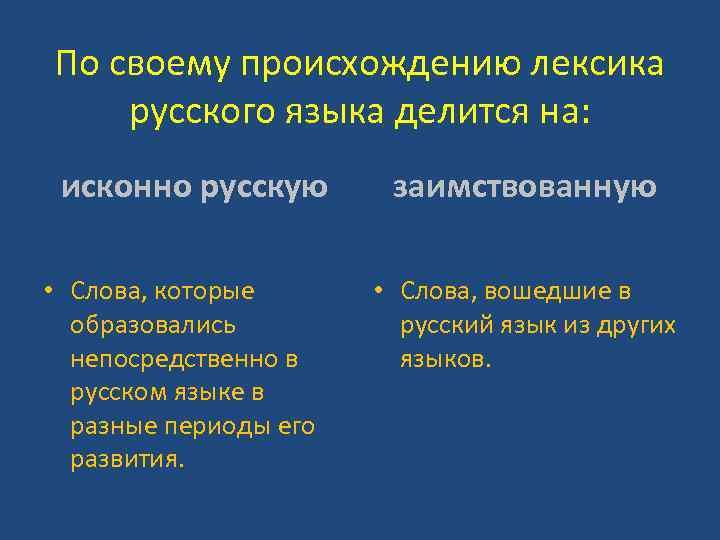 По своему происхождению лексика русского языка делится на: исконно русскую • Слова, которые образовались