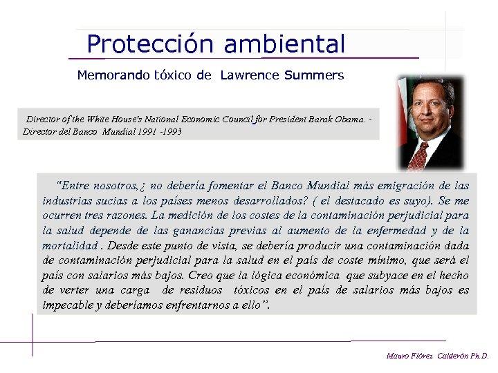 Protección ambiental Memorando tóxico de Lawrence Summers Director of the White House's National Economic