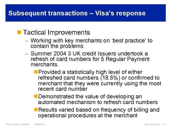 Subsequent transactions – Visa's response n Tactical Improvements – Working with key merchants on