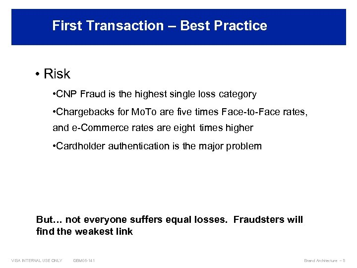 First Transaction – Best Practices • Risk • CNP Fraud is the highest single