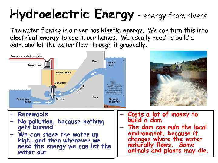 Hydroelectric Energy – energy from rivers The water flowing in a river has kinetic