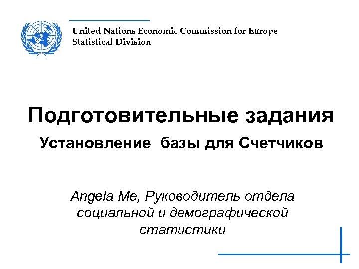 United Nations Economic Commission for Europe Statistical Division Подготовительные задания Установление базы для Счетчиков
