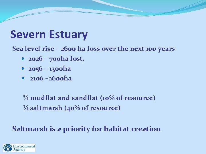 Severn Estuary Sea level rise – 2600 ha loss over the next 100 years