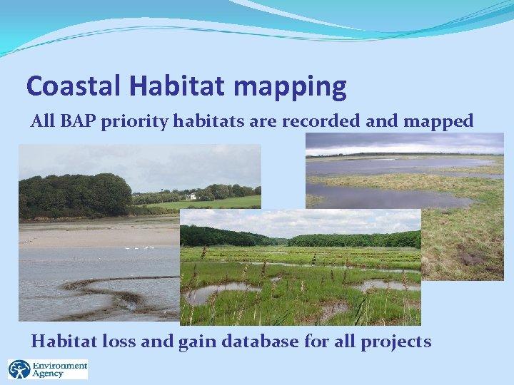 Coastal Habitat mapping All BAP priority habitats are recorded and mapped Habitat loss and