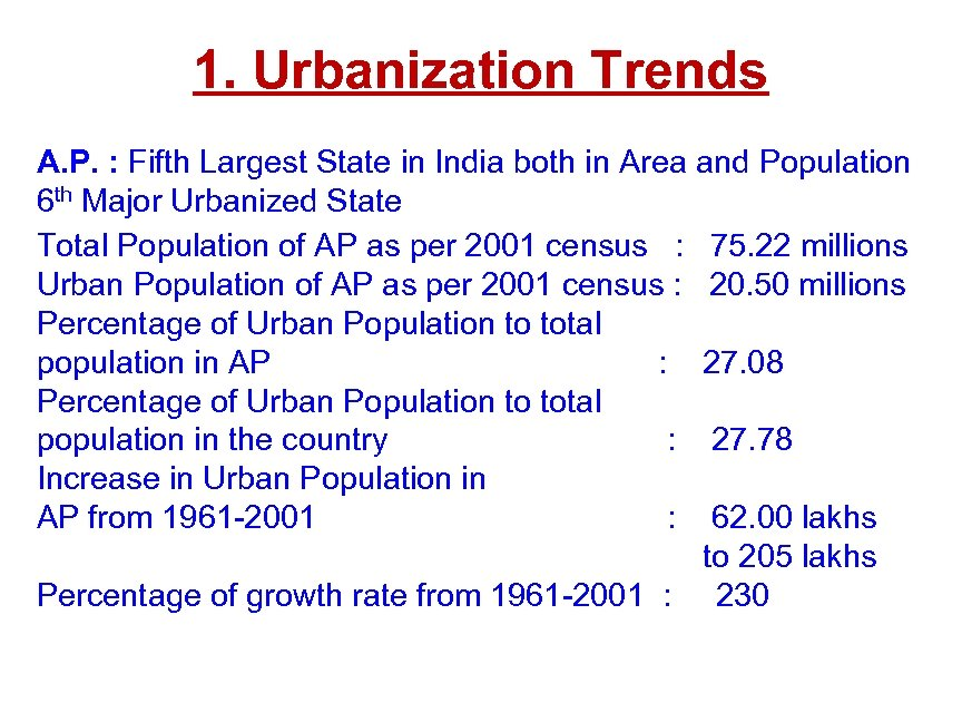1. Urbanization Trends A. P. : Fifth Largest State in India both in Area