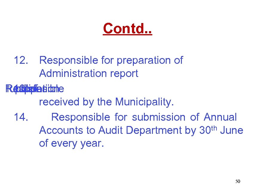 Contd. . 12. Responsible for preparation of Administration report Responsible funds for 13. of