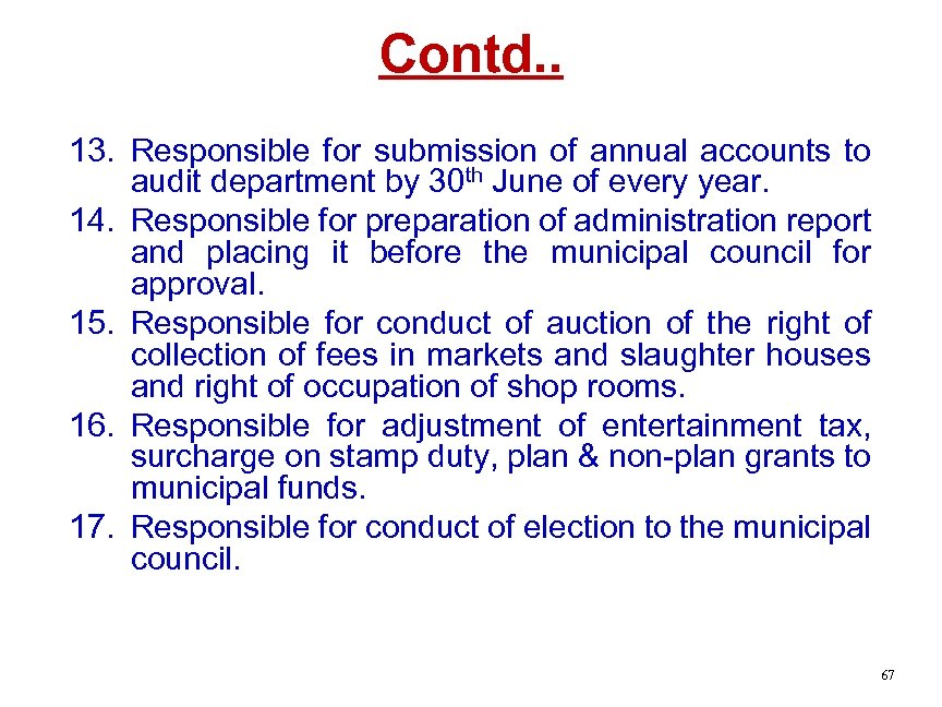 Contd. . 13. Responsible for submission of annual accounts to audit department by 30