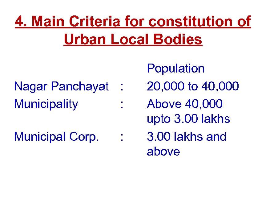 4. Main Criteria for constitution of Urban Local Bodies Nagar Panchayat : Municipality :