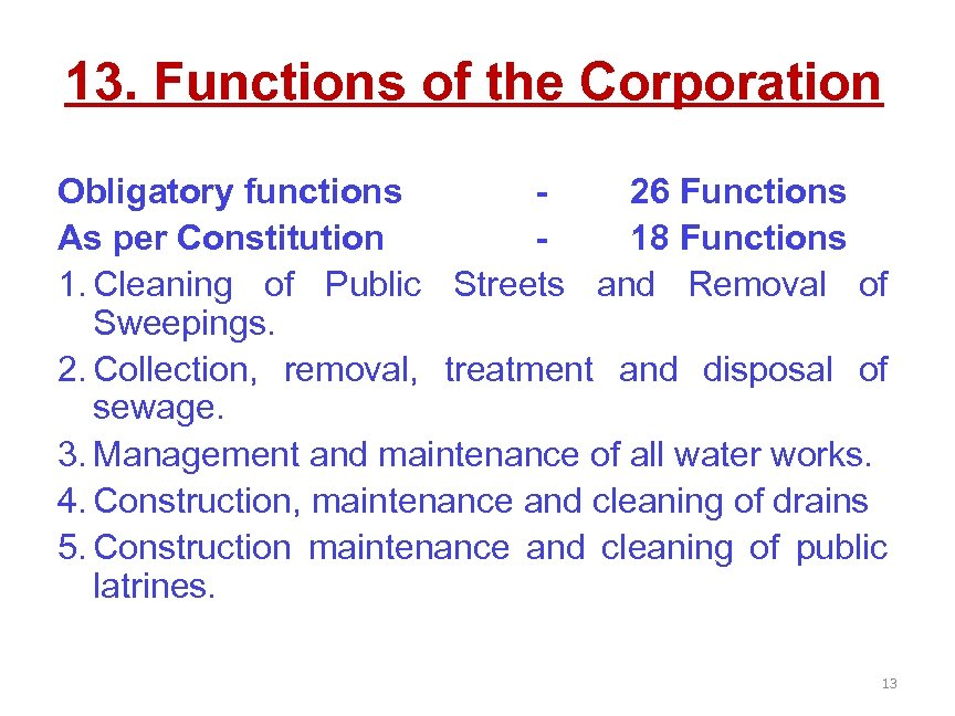 13. Functions of the Corporation Obligatory functions 26 Functions As per Constitution 18 Functions