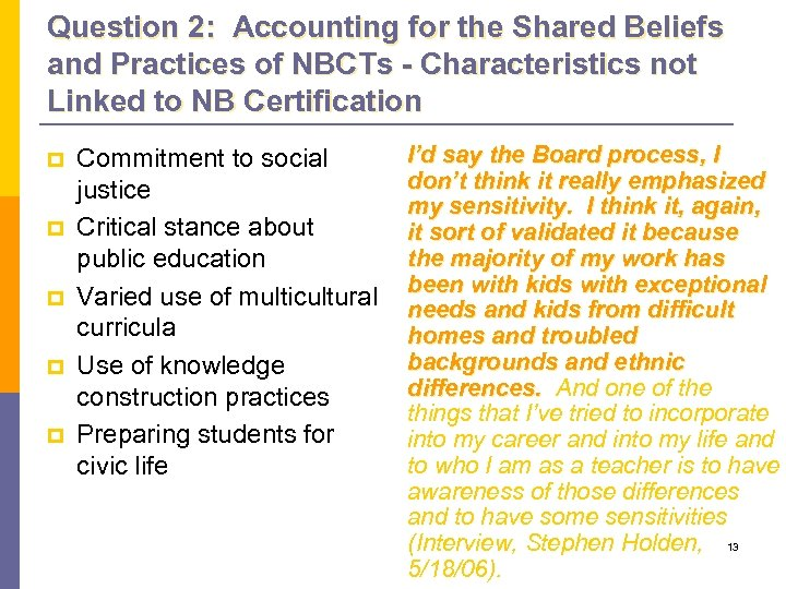 Question 2: Accounting for the Shared Beliefs and Practices of NBCTs - Characteristics not