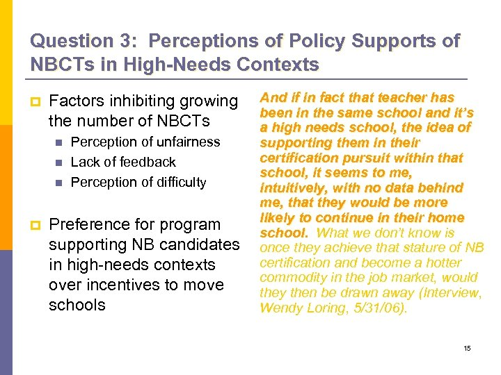 Question 3: Perceptions of Policy Supports of NBCTs in High-Needs Contexts p Factors inhibiting