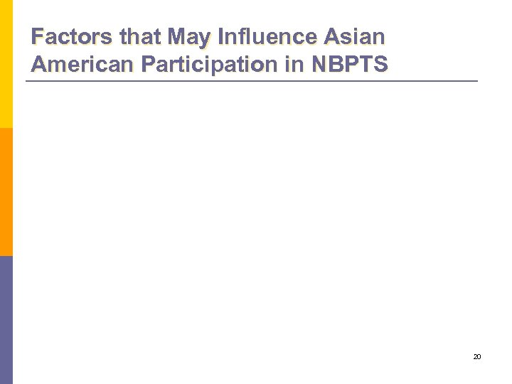 Factors that May Influence Asian American Participation in NBPTS 20