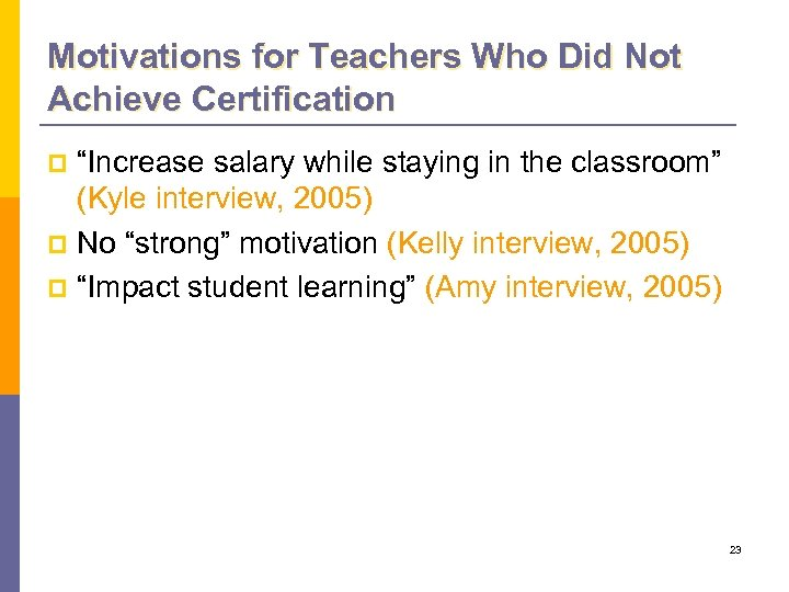 """Motivations for Teachers Who Did Not Achieve Certification """"Increase salary while staying in the"""