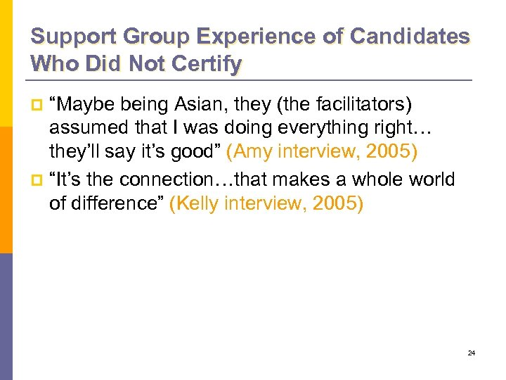 """Support Group Experience of Candidates Who Did Not Certify """"Maybe being Asian, they (the"""