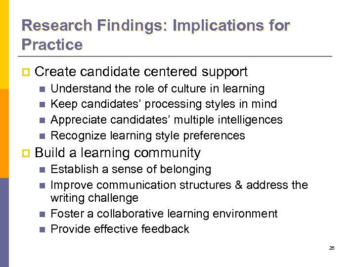 Research Findings: Implications for Practice p Create candidate centered support n n p Understand