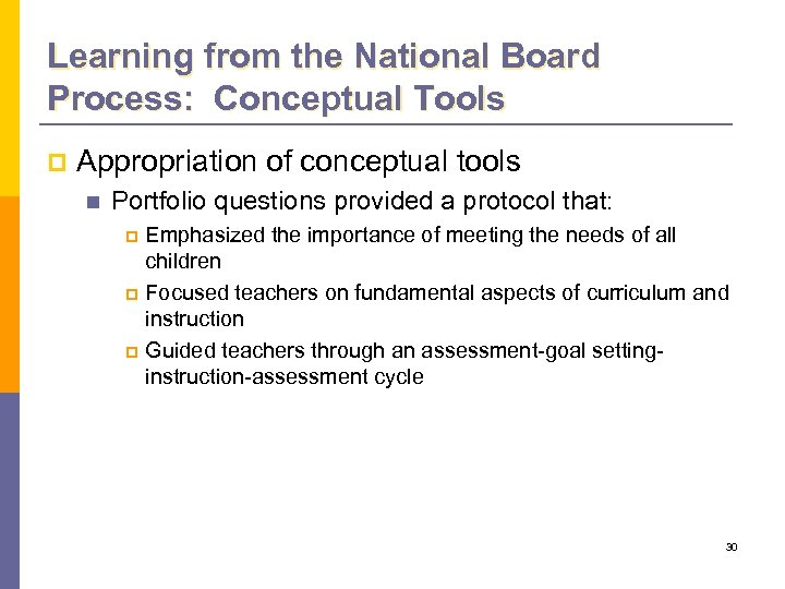 Learning from the National Board Process: Conceptual Tools p Appropriation of conceptual tools n