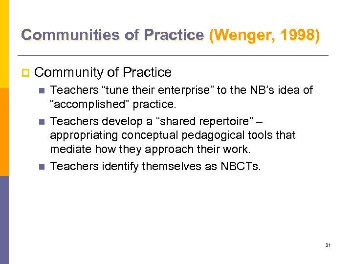 """Communities of Practice (Wenger, 1998) p Community of Practice n n n Teachers """"tune"""