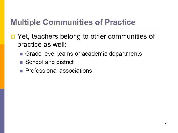 Multiple Communities of Practice p Yet, teachers belong to other communities of practice as