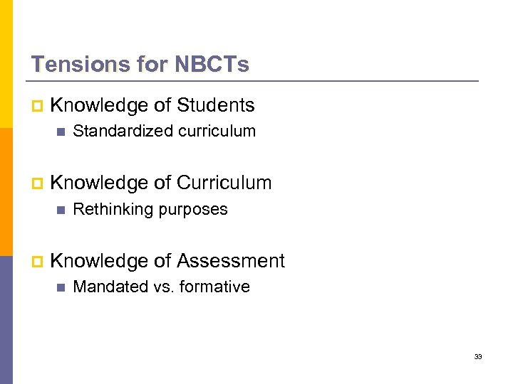 Tensions for NBCTs p Knowledge of Students n p Knowledge of Curriculum n p