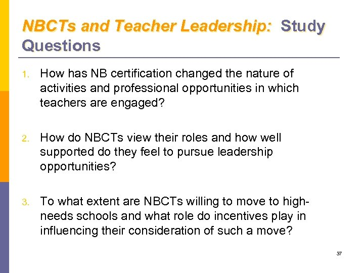 NBCTs and Teacher Leadership: Study Questions 1. How has NB certification changed the nature