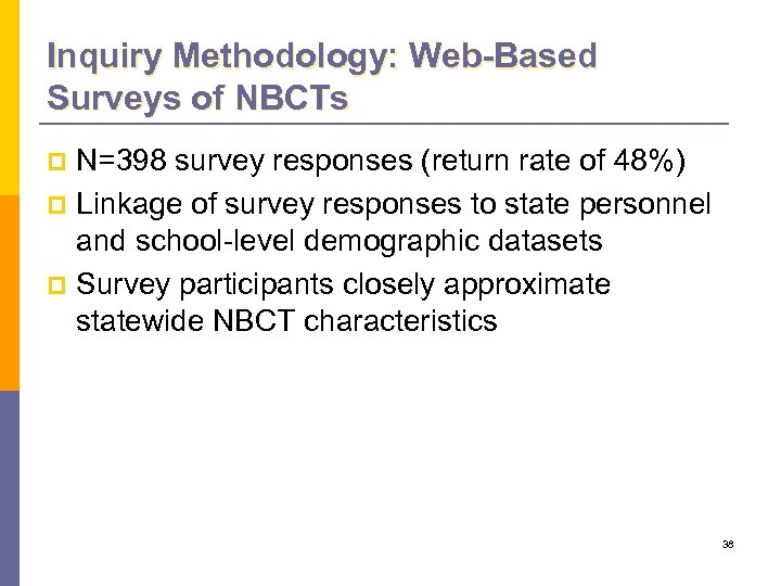 Inquiry Methodology: Web-Based Surveys of NBCTs N=398 survey responses (return rate of 48%) p