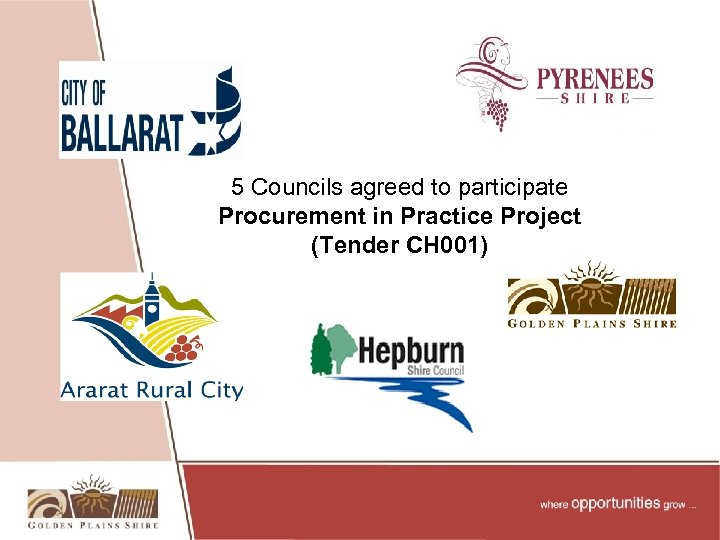 5 Councils agreed to participate Procurement in Practice Project (Tender CH 001)