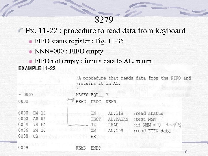 8279 Ex. 11 -22 : procedure to read data from keyboard FIFO status register