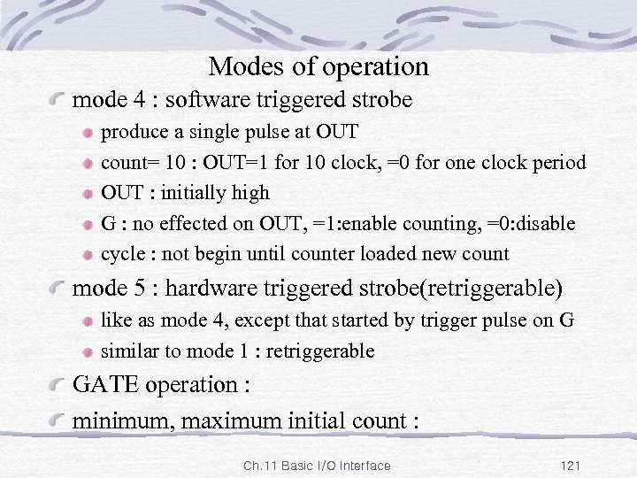 Modes of operation mode 4 : software triggered strobe produce a single pulse at