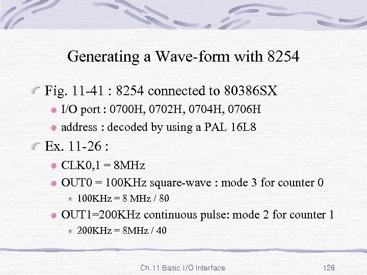 Generating a Wave-form with 8254 Fig. 11 -41 : 8254 connected to 80386 SX