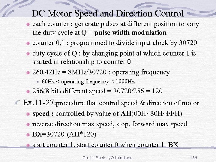 DC Motor Speed and Direction Control each counter : generate pulses at different position