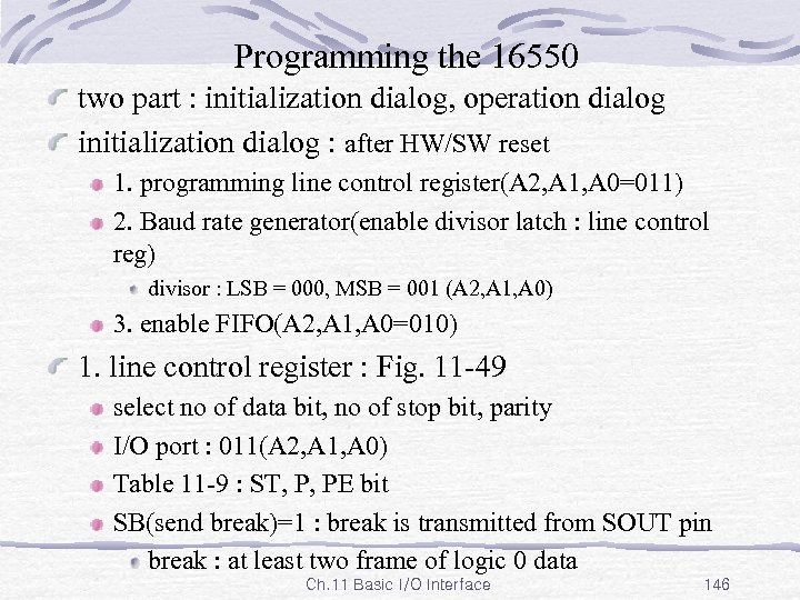 Programming the 16550 two part : initialization dialog, operation dialog initialization dialog : after