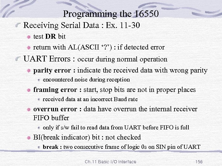 Programming the 16550 Receiving Serial Data : Ex. 11 -30 test DR bit return