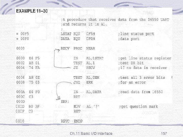 Ex. 11 -30 Ch. 11 Basic I/O Interface 157