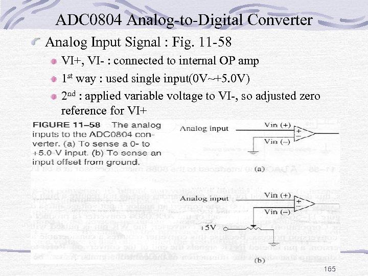 ADC 0804 Analog-to-Digital Converter Analog Input Signal : Fig. 11 -58 VI+, VI- :