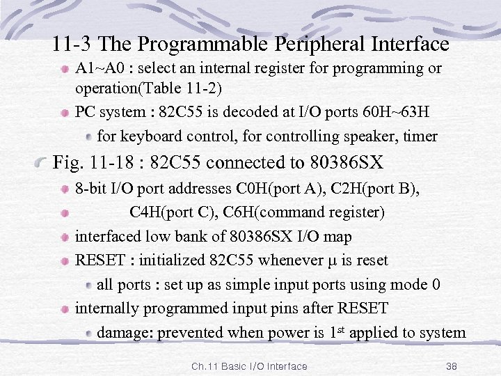 11 -3 The Programmable Peripheral Interface A 1~A 0 : select an internal register