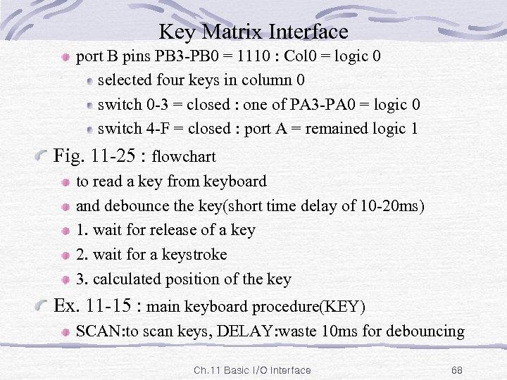 Key Matrix Interface port B pins PB 3 -PB 0 = 1110 : Col