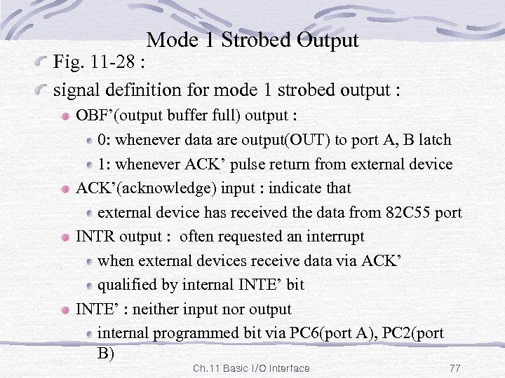 Mode 1 Strobed Output Fig. 11 -28 : signal definition for mode 1 strobed