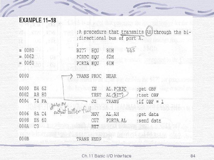 Ex. 11 -18 Ch. 11 Basic I/O Interface 84