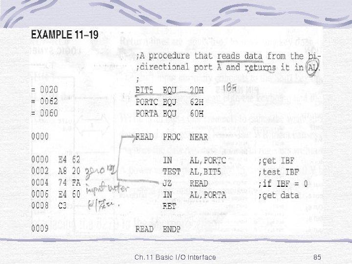 Ex. 11 -19 Ch. 11 Basic I/O Interface 85
