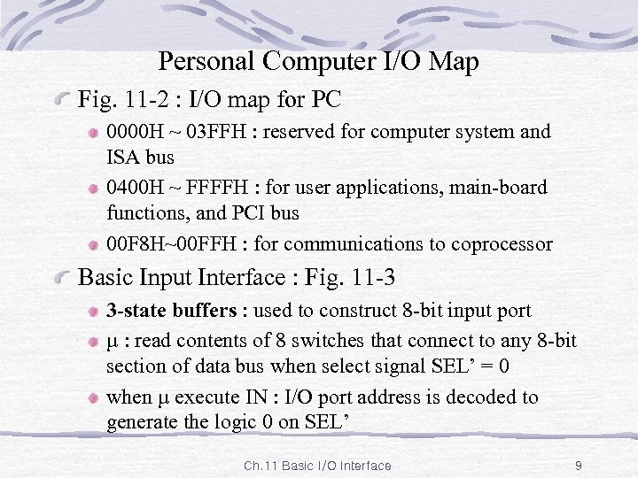 Personal Computer I/O Map Fig. 11 -2 : I/O map for PC 0000 H