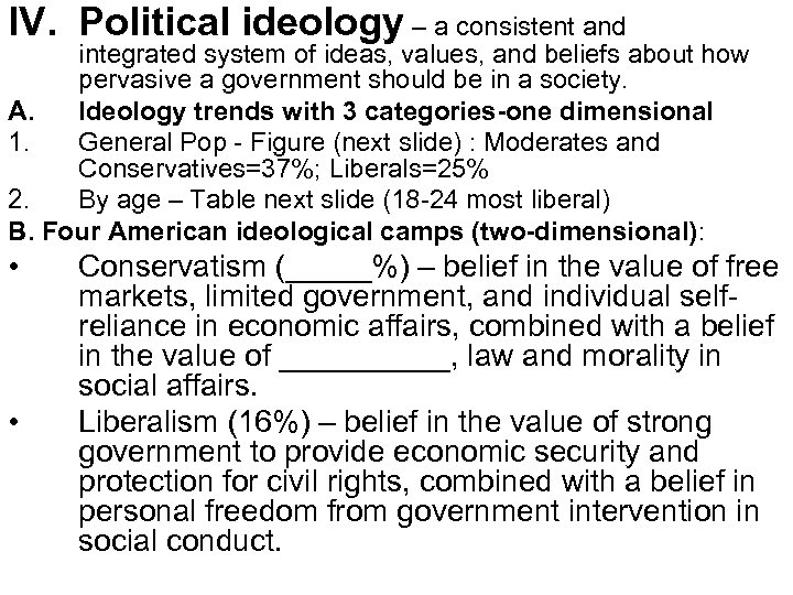 IV. Political ideology – a consistent and integrated system of ideas, values, and beliefs