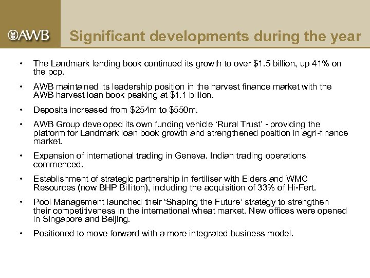Significant developments during the year • The Landmark lending book continued its growth to