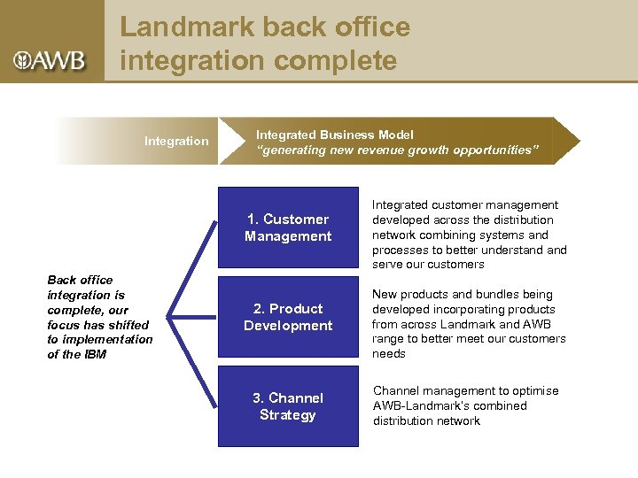 "Landmark back office integration complete Integration Integrated Business Model ""generating new revenue growth opportunities"""