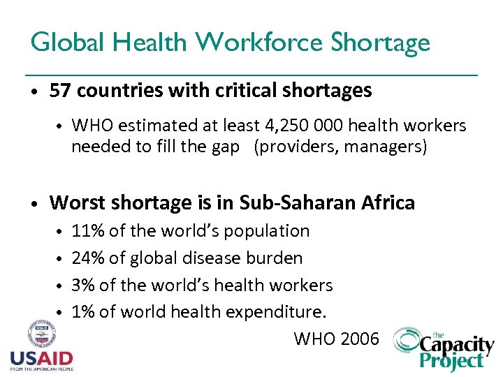 Global Health Workforce Shortage • 57 countries with critical shortages • • WHO estimated