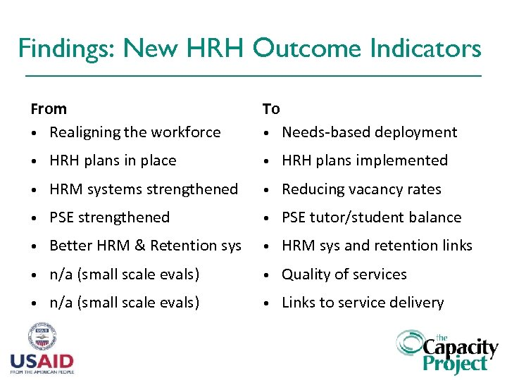 Findings: New HRH Outcome Indicators From • Realigning the workforce To • Needs-based deployment