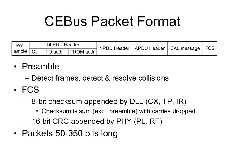 CEBus Packet Format • Preamble – Detect frames, detect & resolve collisions • FCS