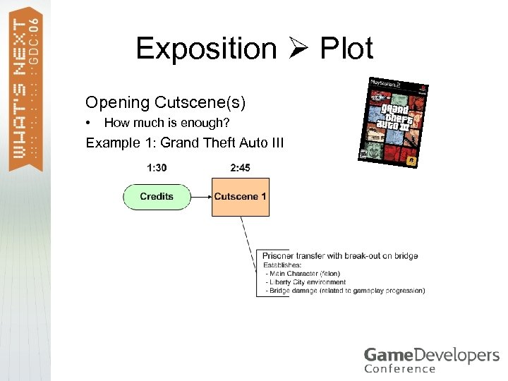 Exposition Plot Opening Cutscene(s) • How much is enough? Example 1: Grand Theft Auto